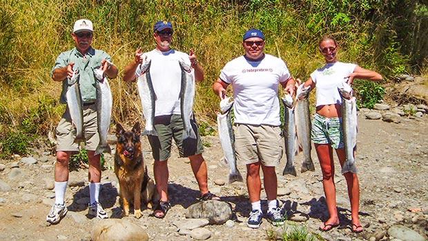Fishing on the Cowlitz River in Washington. Nice limit of Steelhead.