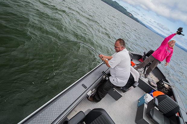 A rod about to break fighting a big Columbia River Sturgeon.