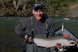 Bob F with a Nestucca River Steelhead caught with guide, lance fisher