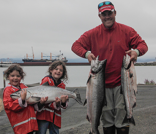 A great catch of salmon on the Columbia River with fishing guide Lance Fisher