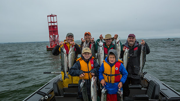 A limit of Salmon caught at Buoy 10 with guide Lance Fisher