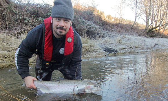 A nice steelhead caught in low cold conditions