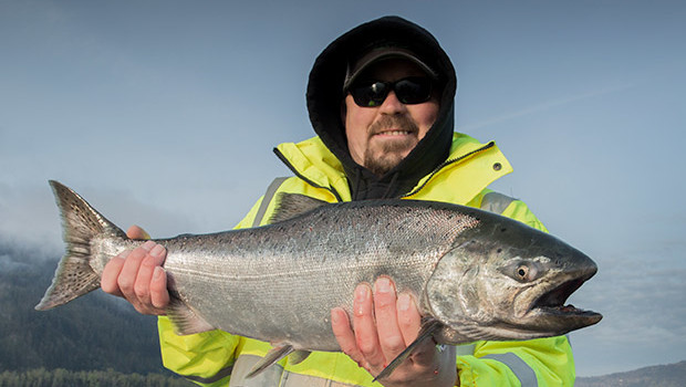 a gorgeous spring salmon caught on the columbia river with guide, lance fisher