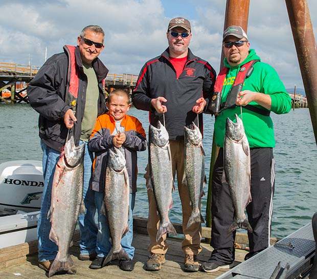 A nice catch of Chinook Salmon caught with fishing guide, Lance Fisher