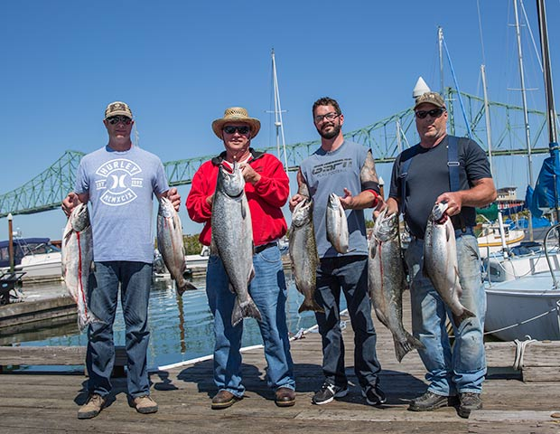 A nice limit of Fall Chinook caught in Astoria at Buoy 10 with fishing guide, Lance Fisher.