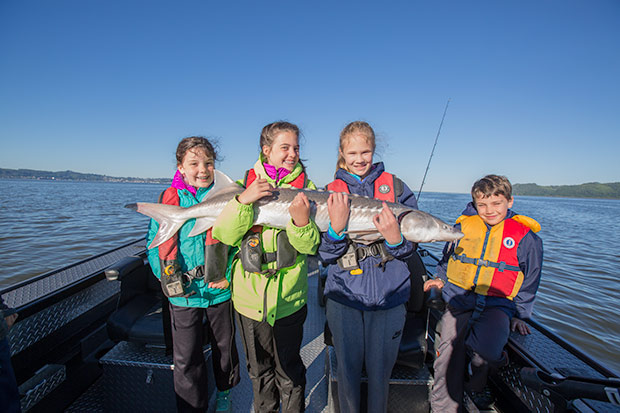 Sturgeon fishing on the Columbia River is great fun for kids.