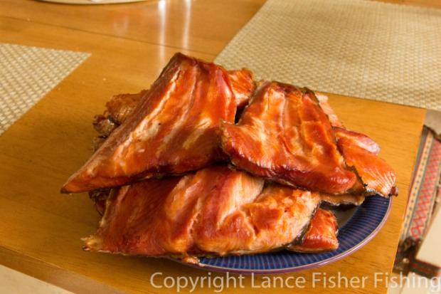 Heaping plate of smoked salmon.